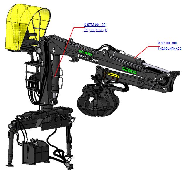 Гидроцилиндры (ВЕЛМАШ) на манипулятор для лома ОМТ-97М