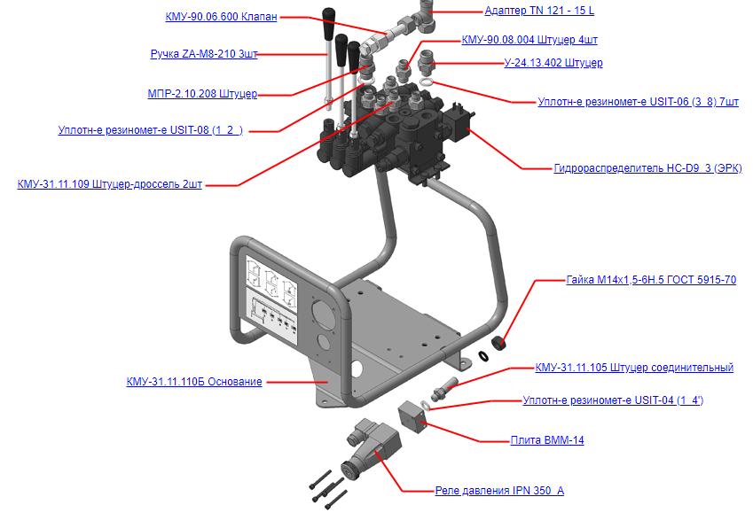 Запчасти, КМУ-31.11.100-01 Управление гидросистемой для КМУ (ВЕЛМАШ) запчасти на манипулятор для КМУ-31 Велмаш