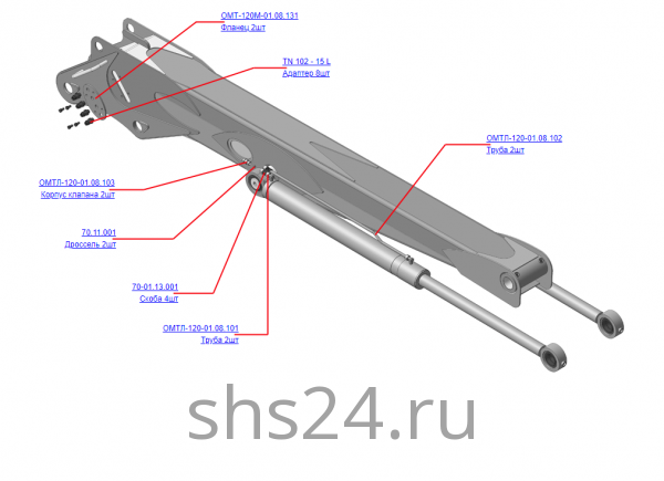 Запчасти, ОМТЛ-120-01.08.100 Гидрооборудование стрелы на манипулятор для леса ОМТ-120-01 (ВЕЛМАШ) детали