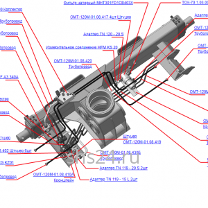 Запчасти, ОМТЛ-120-01.08.400А Гидрооборудование ОПУ на манипулятор для леса ОМТ-120-01 (ВЕЛМАШ)