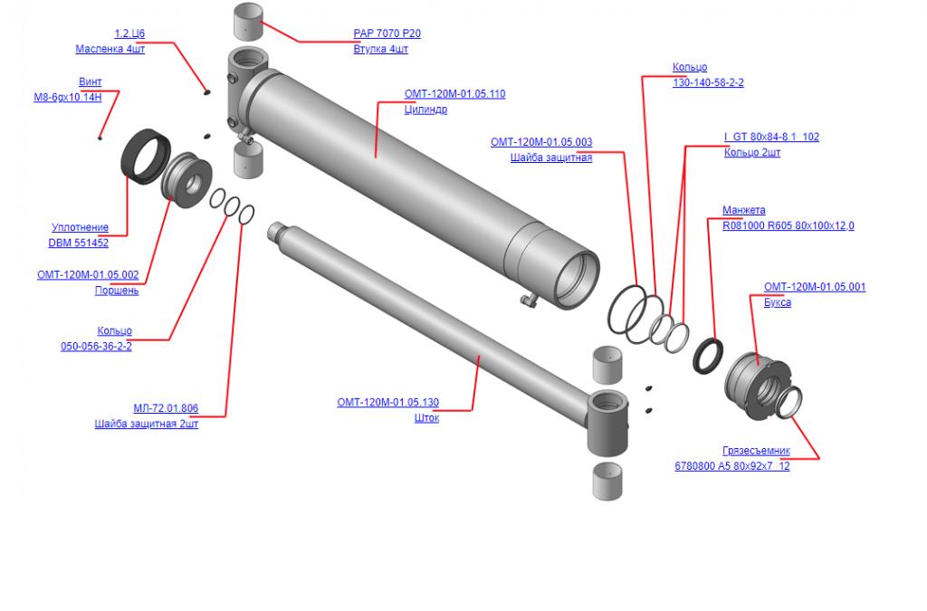 Запчасти, ОМТ-120М-01.05.000 Гидроцилиндр на манипулятор для леса ОМТ-120-01 (ВЕЛМАШ) детали