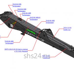 Запчасти на манипулятор для леса ОМЛТ-70-02 Гидрооборудование стрелы 70-02.06.100Б