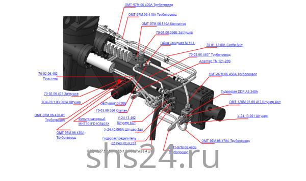 Запчасти 70-02.06.400А Гидрооборудование ОПУ для крана-манипулятора ОМТЛ-97 Велмаш