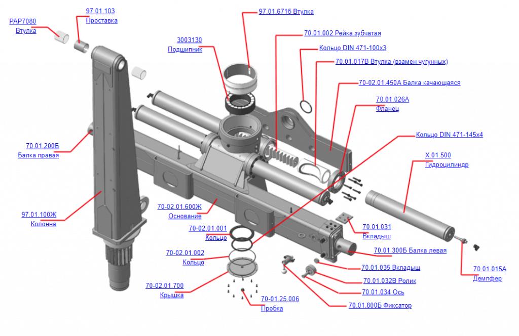 Запчасти 97.01.000А Устройство опорно поворотное для манипулятора ОМТЛ-97