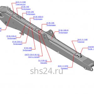 Запчасти 97.06.100Б Гидрооборудование стрелы для крана-манипулятора ОМТЛ-97 Велмаш