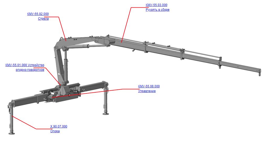 Манипулятор для КМУ (ВЕЛМАШ) Запчасти на манипулятор КМУ-55 (Велмаш)