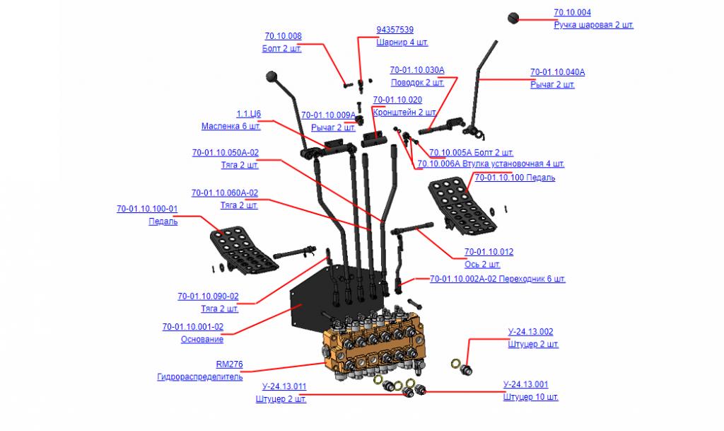 Механизм управления 70-01.10.000А-02 (ВЕЛМАШ) на манипулятор для лома ОМТ-97М, детали