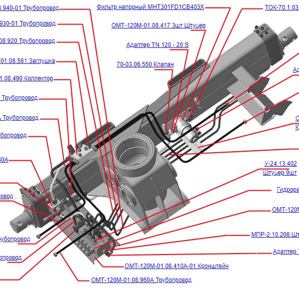 ОМТ-120М-01.08.400А Гидрооборудование ОПУ (ВЕЛМАШ) запчасти на манипулятор для лома ОМТ-120М-01 Велмаш