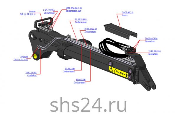 ОМТ-97М.06.300А Гидрооборудование рукояти (ВЕЛМАШ) запчасти на манипулятор для лома ОМТ-97М