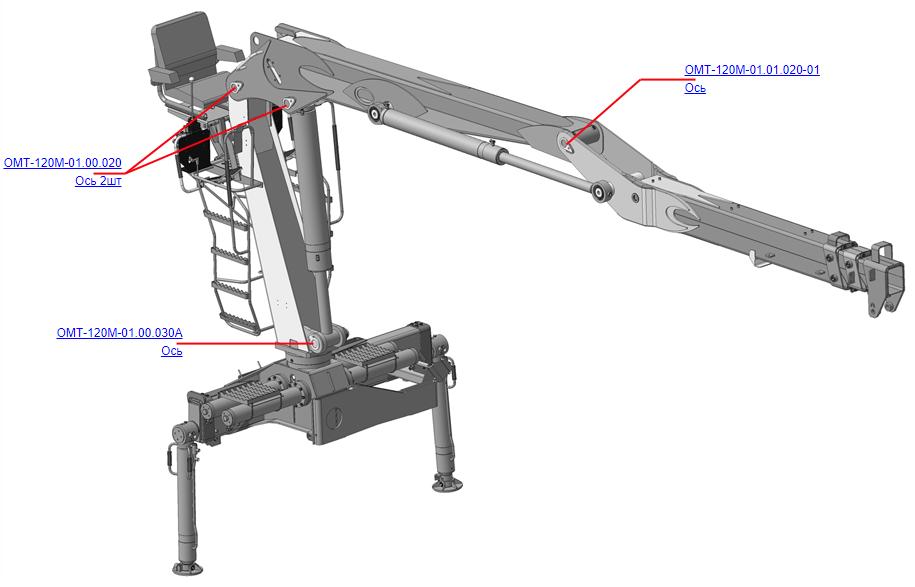 ОСИ (ВЕЛМАШ) Запчасти на манипулятор для лома ОМТ-120М-01 (Велмаш)