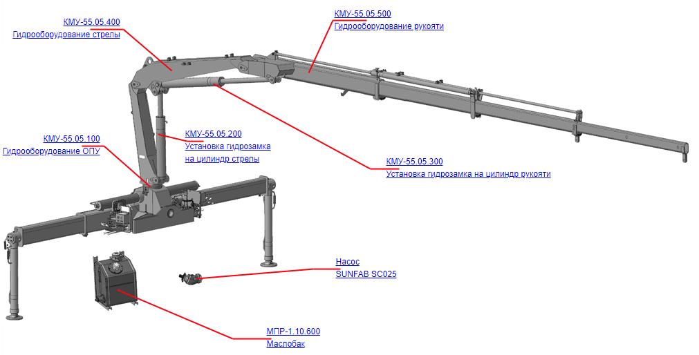 Гидрооборудование для КМУ (ВЕЛМАШ) Запчасти на манипулятор КМУ-55 (Велмаш)