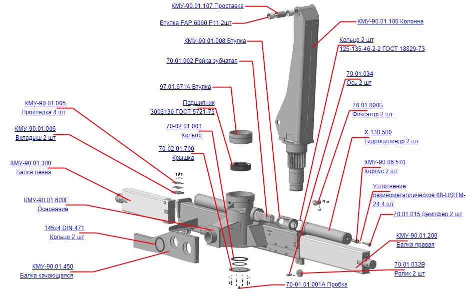 Запчасти, КМУ-90.01.000Б Устройство опорно-поворотное для КМУ (ВЕЛМАШ) запчасти на манипулятор для КМУ-90 Велмаш
