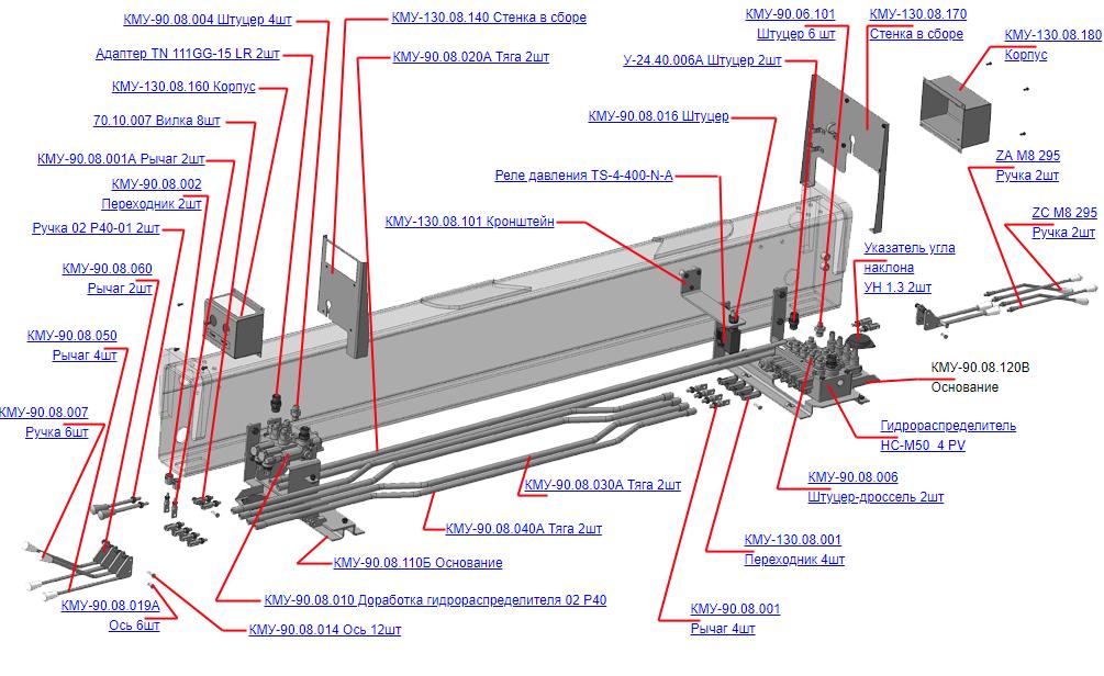 Запчасти, КМУ-90.08.000-04 Управление для КМУ (ВЕЛМАШ) запчасти на манипулятор для КМУ-90 Велмаш