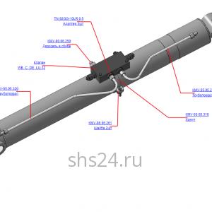 КМУ-55.05.300 Установка гидрозамка на цилиндр рукояти для КМУ (ВЕЛМАШ) запчасти на манипулятор для КМУ-55 Велмаш