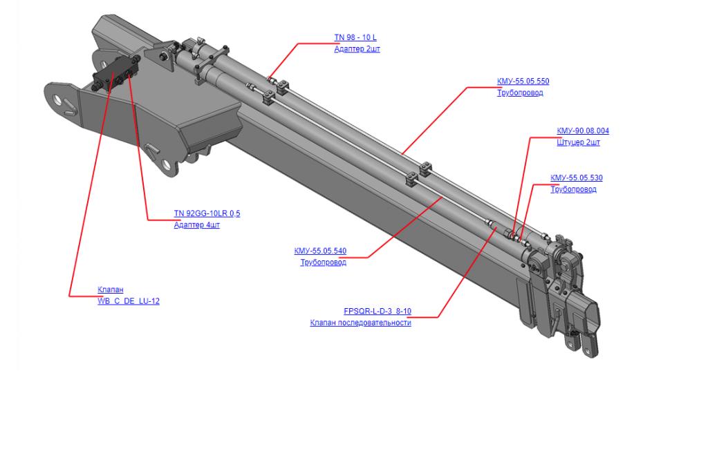 КМУ-55.05.500 Гидрооборудование рукояти для КМУ (ВЕЛМАШ) запчасти на манипулятор для КМУ-55 Велмаш