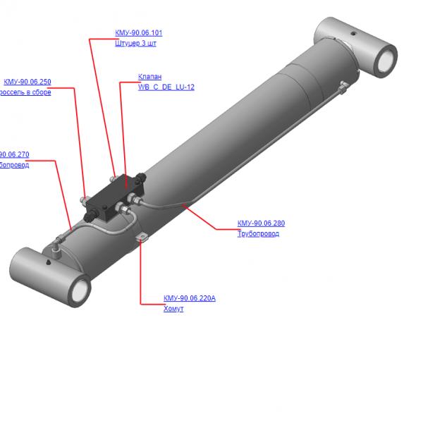 КМУ-90.06.200Б Установка клапана рукояти для КМУ (ВЕЛМАШ) запчасти на манипулятор для КМУ-90 Велмаш
