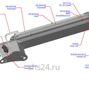 КМУ-90.06.300В Гидрооборудование рукояти для КМУ (ВЕЛМАШ) запчасти на манипулятор для КМУ-90 Велмаш