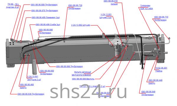 КМУ-90.06.400В Гидрооборудование ОПУ для КМУ (ВЕЛМАШ) запчасти на манипулятор для КМУ-90 Велмаш