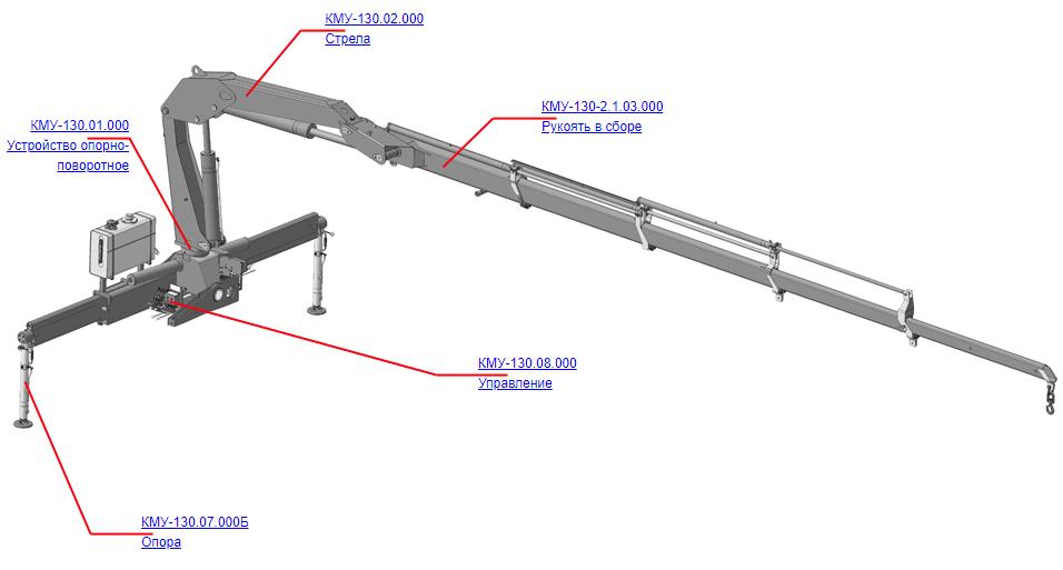 Манипулятор для КМУ (ВЕЛМАШ) Запчасти на манипулятор КМУ-130 (Велмаш)