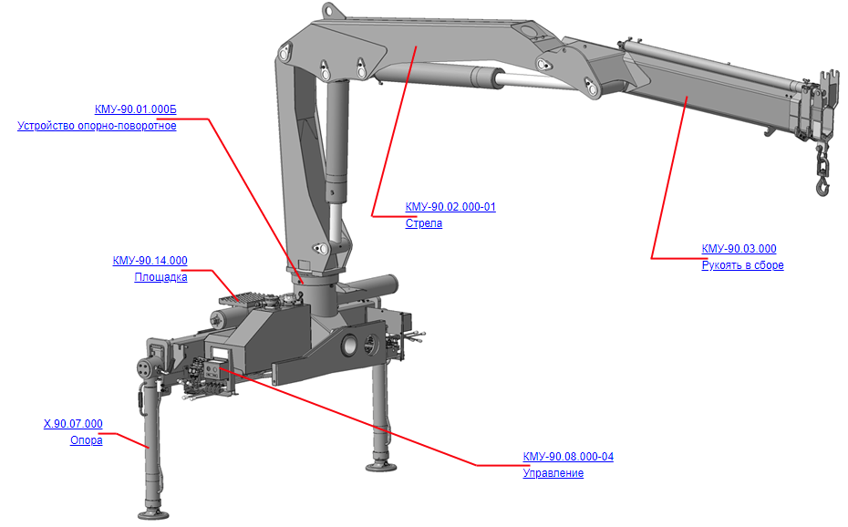 Манипулятор для КМУ (ВЕЛМАШ) Запчасти на манипулятор КМУ-90 (Велмаш)