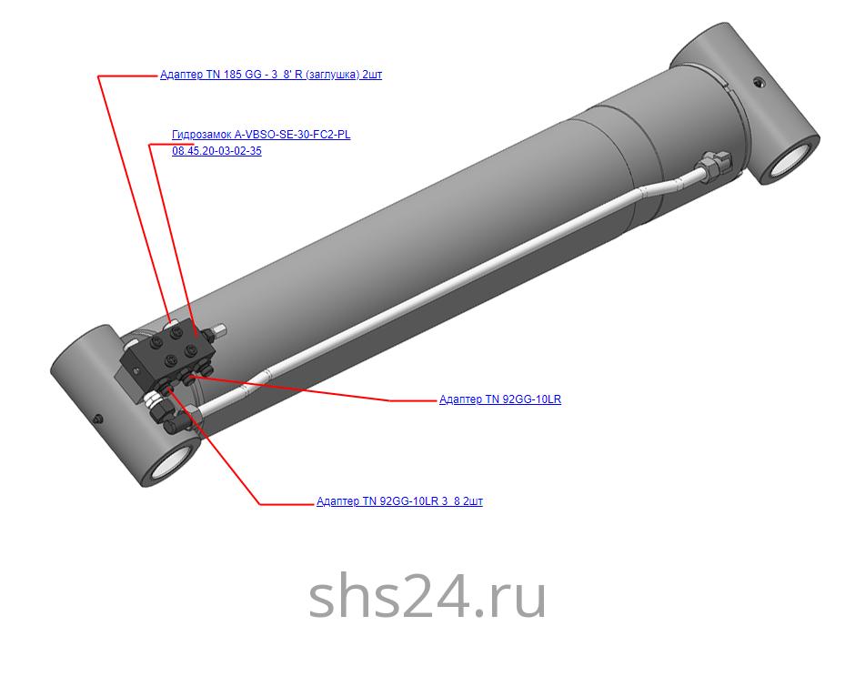 КМУ-130.06.200 Установка гидрозамка на стреловой гидроцилиндр для КМУ (ВЕЛМАШ) запчасти на манипулятор для КМУ-130 Велмаш