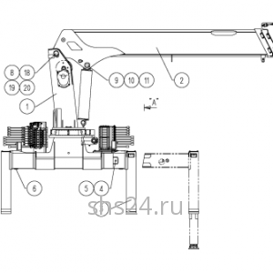 Основные части крана Kanglim KS 1056