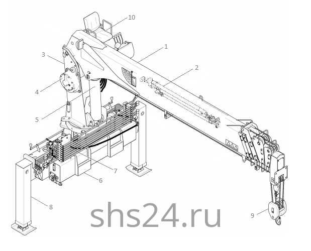 Основные части крана Kanglim KS 1256 GII