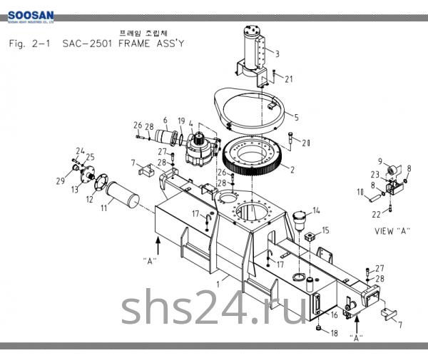 Опорно-поворотный подшипник (ОПУ) Soosan SAC 2501