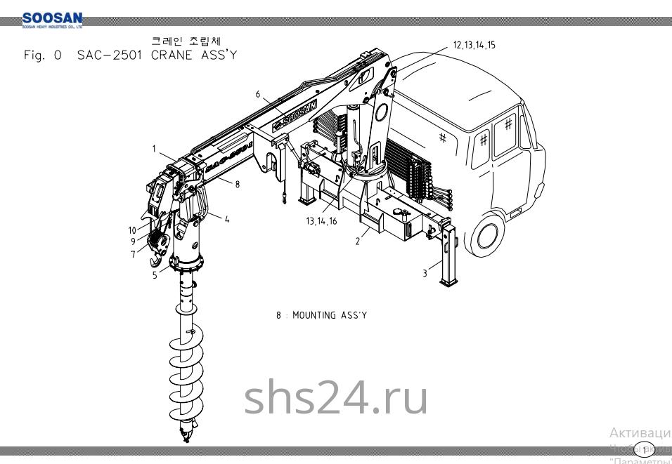 Основные части крана Soosan SAC 2501