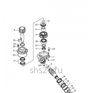 Редуктор поворота колонны крана манипулятора КМУ Kanglim KS 1256 G II