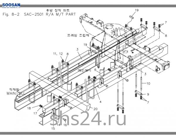 Схема крепления станины Soosan SAC 2501