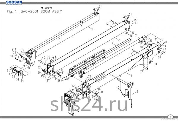 Стрела в разборе (3 секции) Soosan SAC 2501