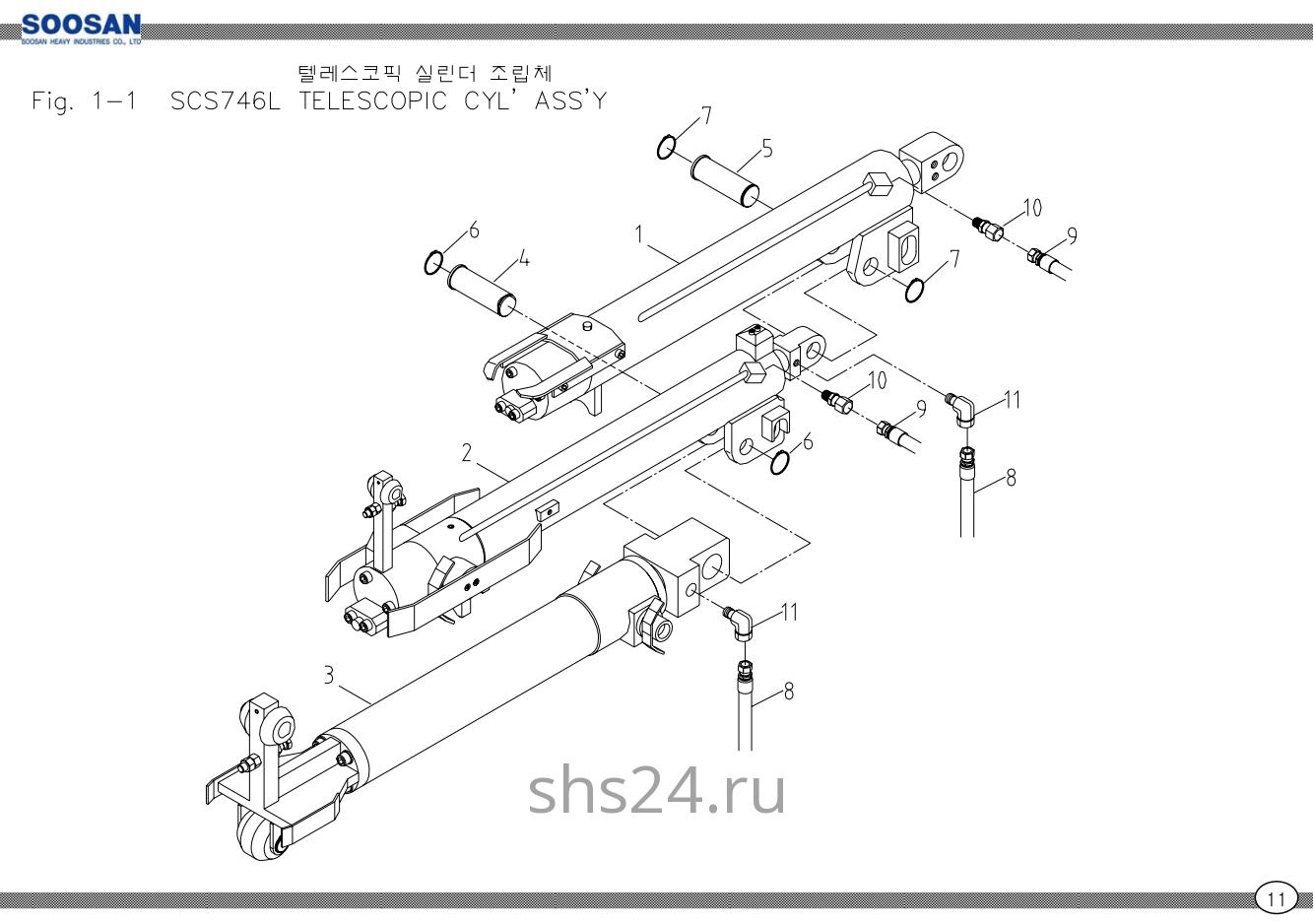Гидроцилиндры выдвижения стрелы в сборе Soosan SCS746L