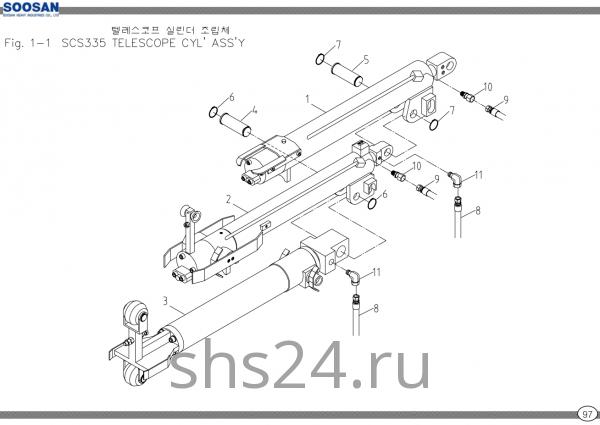 Гидроцилиндры телескопирования в сборе Soosan SCS 335