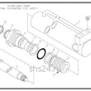 Гидроцилиндр выдвижения переднего аутригера Soosan SCS 746L