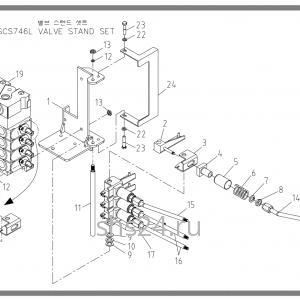 Крепление 4-х секц. гидрораспределителя Soosan SCS 746L