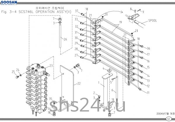 Пост управления 8-ми секц. гидрораспределителем Soosan SCS 746L
