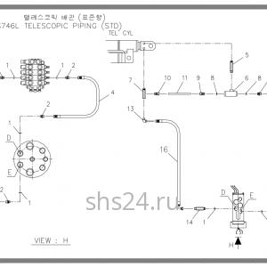 Схема подключения гидроцилиндра выдвижения стрелы Soosan SCS 746L