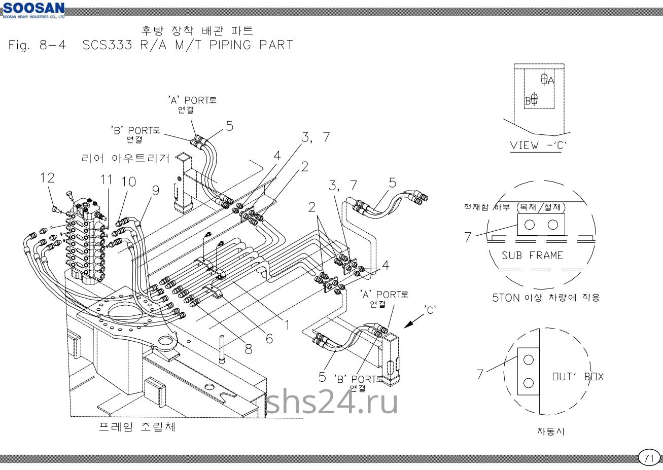 Схема подключения задних аутригеров Soosan scs 333,334,335