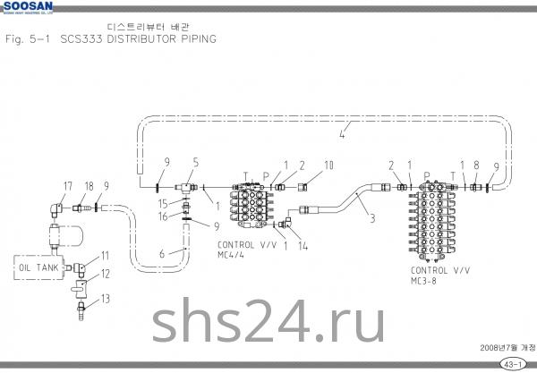 Схема подключения распределителей 2 Soosan scs333,334,335