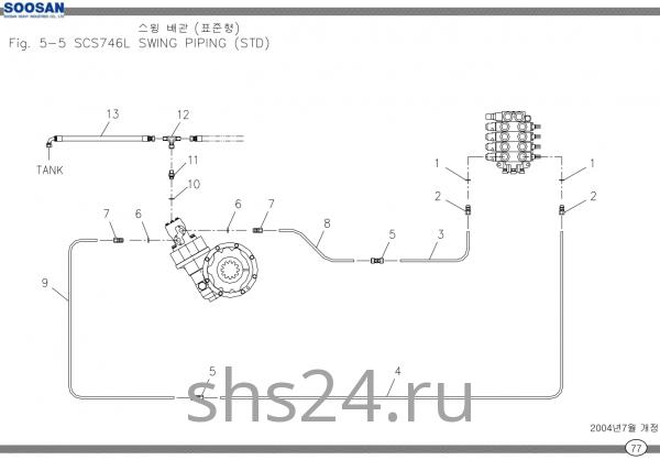 Схема подключения редуктора поворота Soosan SCS 746L