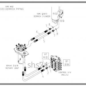 Схема подключения цилиндра подъема Soosan scs333,334,335