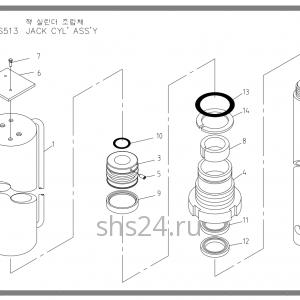 Цилиндр опускания аутригера 2 Soosan SCS 513