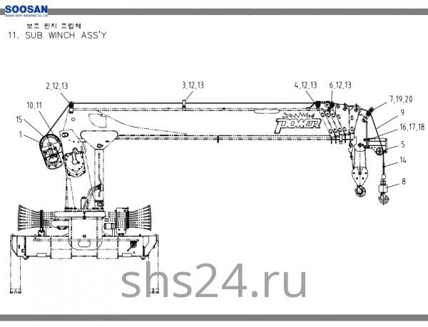 Дополнительная лебёдка Soosan SCS 736L2