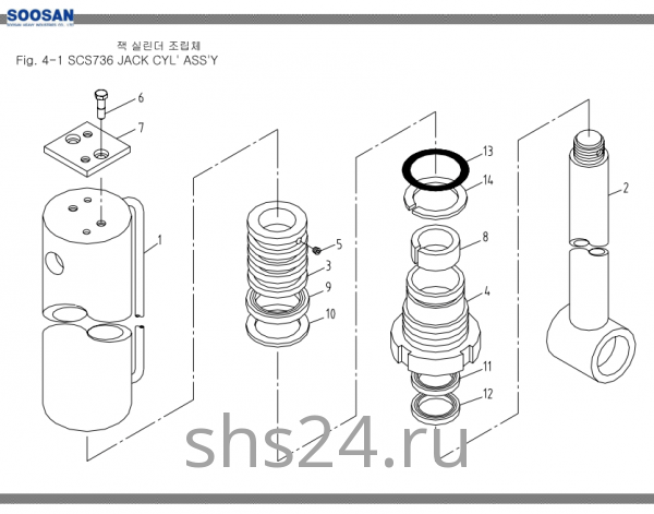 Гидроцилиндр опускания переднего аутригера Soosan SCS 736L2