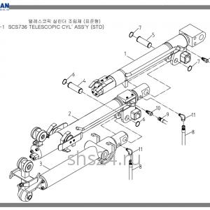 Гидроцилиндры выдвижения стрелы в сборе Soosan SCS 736L2
