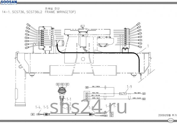 Электропроводка станины Soosan SCS 736 TOP