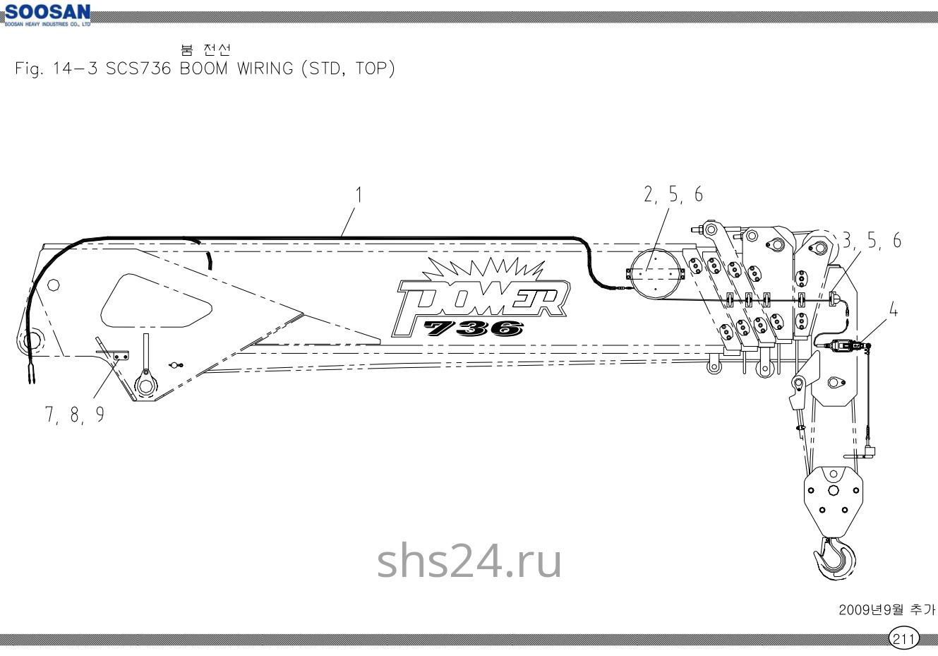 Электропроводка стрелы Soosan SCS 736