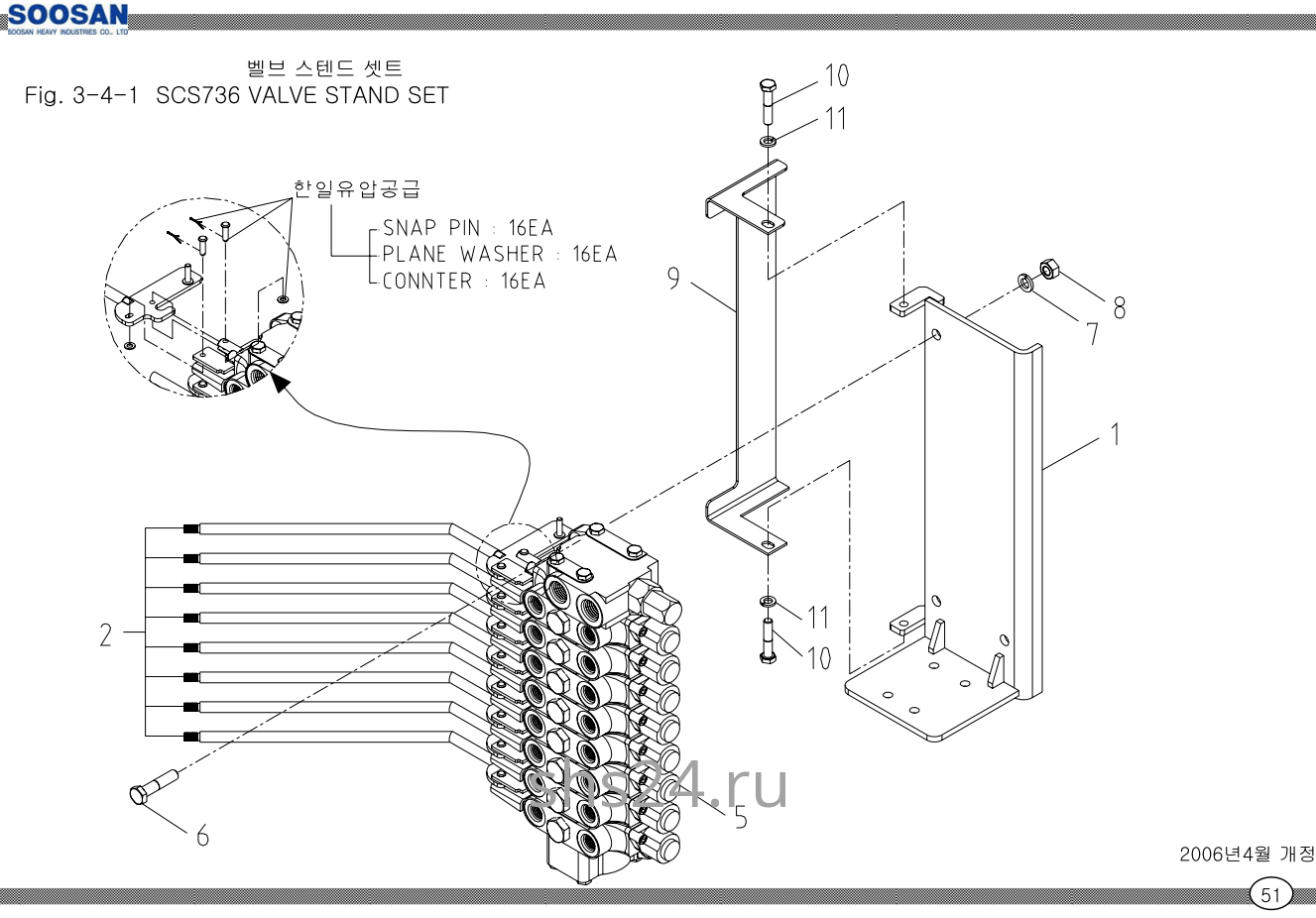 Крепление рычагов 8-ми секц. гидрораспределителя Soosan SCS 736