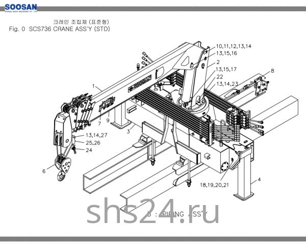 Основные части крана Soosan SCS 736L2 STD